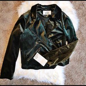 Badgley Mischka Green Velvet Moto Jacket